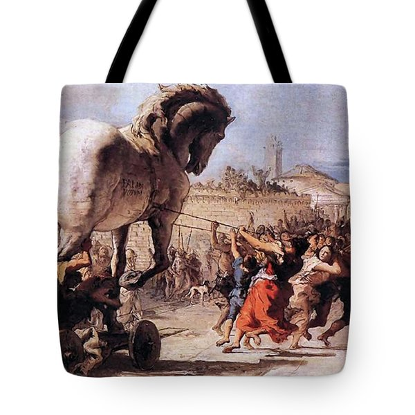 Procession Of The Trojan Horse  Tote Bag