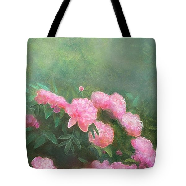 Tote Bag featuring the mixed media Profuse Peony Blossoms by Nancy Lee Moran