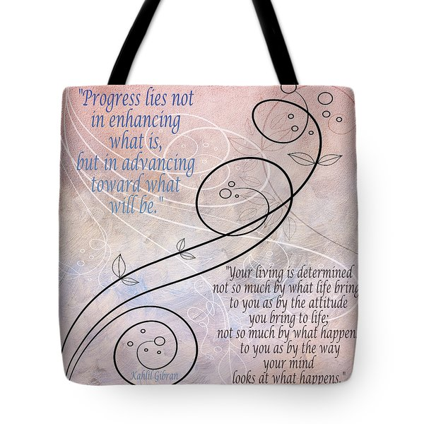 Tote Bag featuring the digital art Progress by Angelina Vick