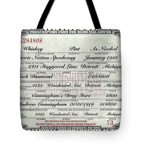 Tote Bag featuring the photograph Prohibition Prescription Certificate Carrie Nation Speakeasy by David Patterson