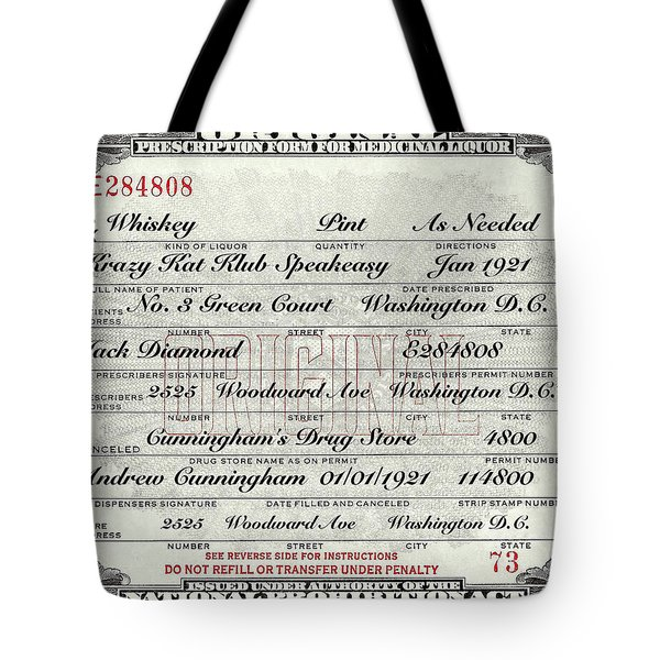 Tote Bag featuring the photograph Prohibition Prescription Certificate Krazy Kat Klub by David Patterson