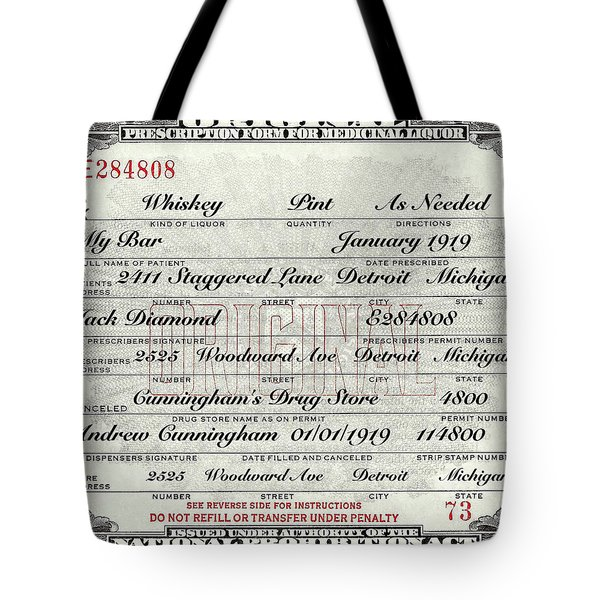Tote Bag featuring the photograph Prohibition Prescription Certificate My Bar, by David Patterson