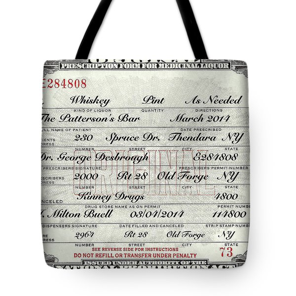 Tote Bag featuring the photograph Prohibition Prescription Certificate Personalized by David Patterson