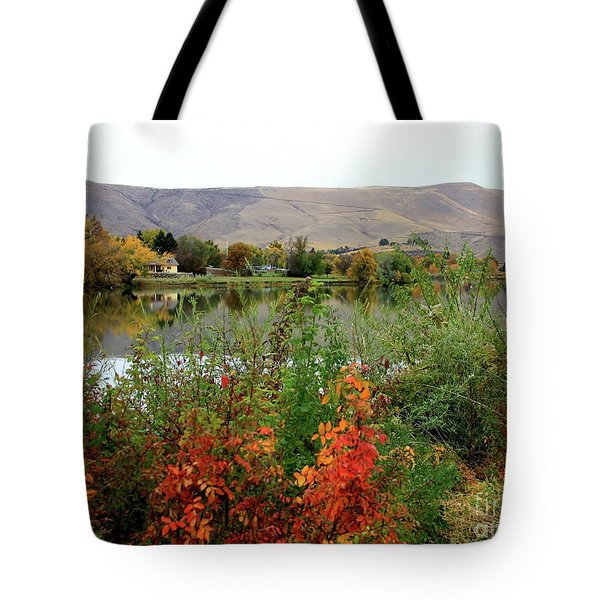 Prosser Autumn River With Hills Tote Bag by Carol Groenen
