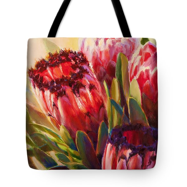 Tote Bag featuring the painting Protea - Tropical Flowers From Hawaii by Karen Whitworth