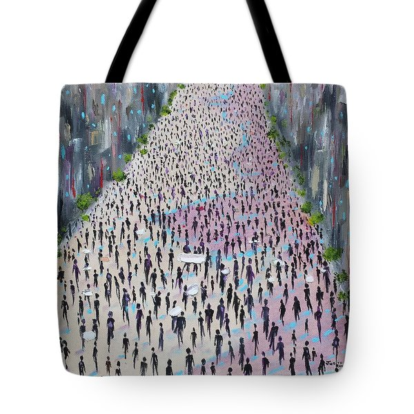 Tote Bag featuring the painting Protesters by Judith Rhue