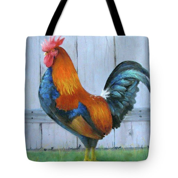 Tote Bag featuring the painting Proud Rooster by Oz Freedgood