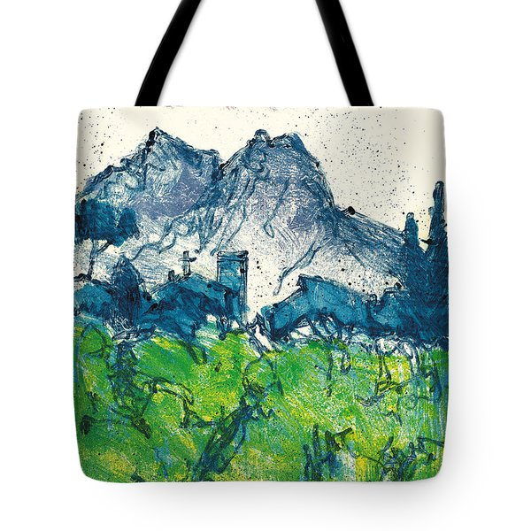 Tote Bag featuring the painting Provence Landscape Alpilles by Martin Stankewitz