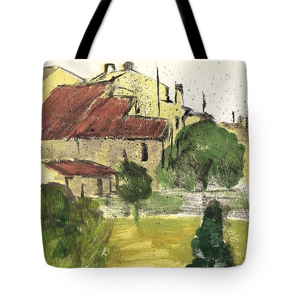 Tote Bag featuring the painting Provence Landscape Sainte Marguerite by Martin Stankewitz