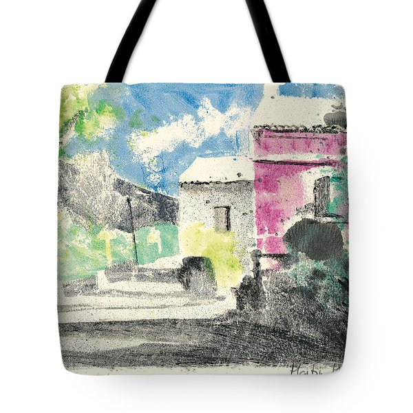 Tote Bag featuring the painting Provence Landscape Village Cucuron by Martin Stankewitz