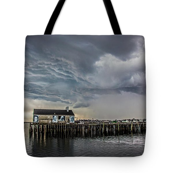 Tote Bag featuring the photograph Provincetown Storm, Cabrals Wharf by Charles Harden