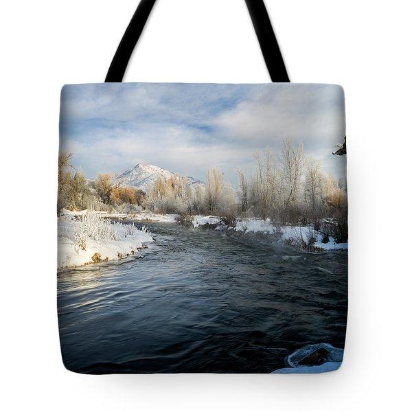 Provo River In Winter Tote Bag