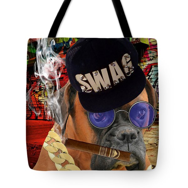 Tote Bag featuring the mixed media Prowess by Marvin Blaine