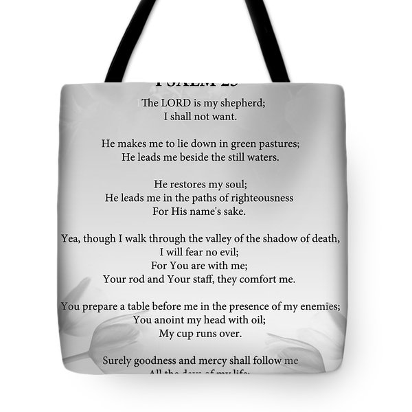 Tote Bag featuring the painting Psalm 23 by Trilby Cole