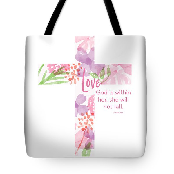 Psalm 46 5 Cross- Art By Linda Woods Tote Bag