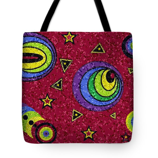 Tote Bag featuring the digital art Pschedelic Universe Mosaic by Shelli Fitzpatrick