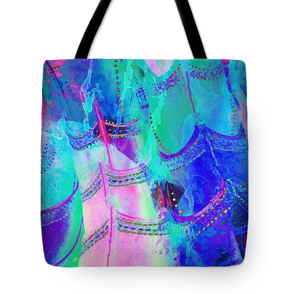 Psychedelic Blue Shoes Shopping Is Fun Abstract Square 4f Tote Bag