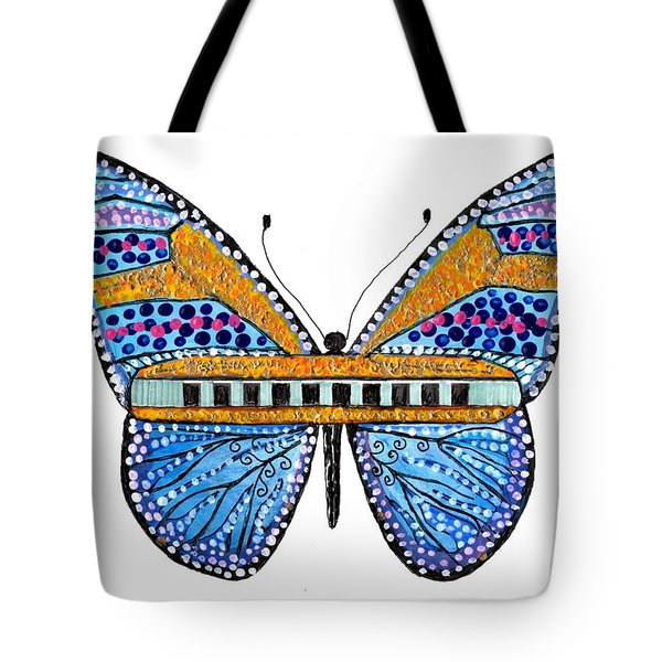 Psychedelic Blues Harmonica Tote Bag