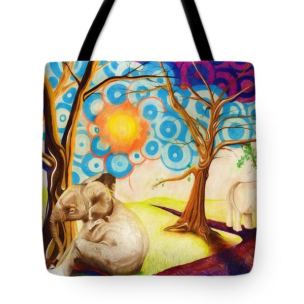 Tote Bag featuring the drawing Psychedelic Elephants by Shawna Rowe