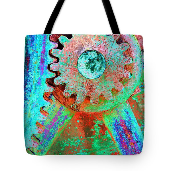 Psychedelic Gears Tote Bag by Phyllis Denton