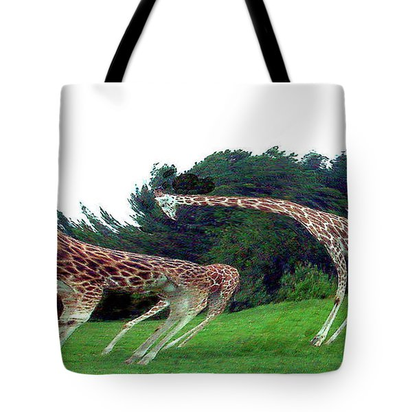 Tote Bag featuring the digital art Psychedelic Giraffes by Merton Allen