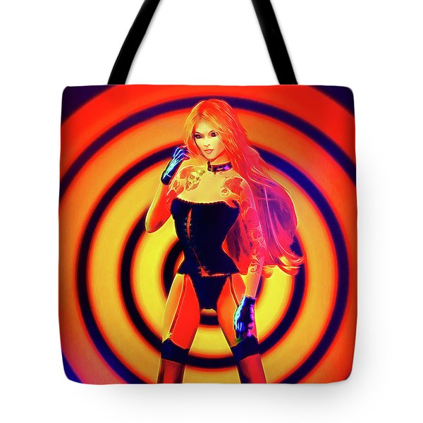 Psychedelic Hypnotic Pin-up Girl Tote Bag