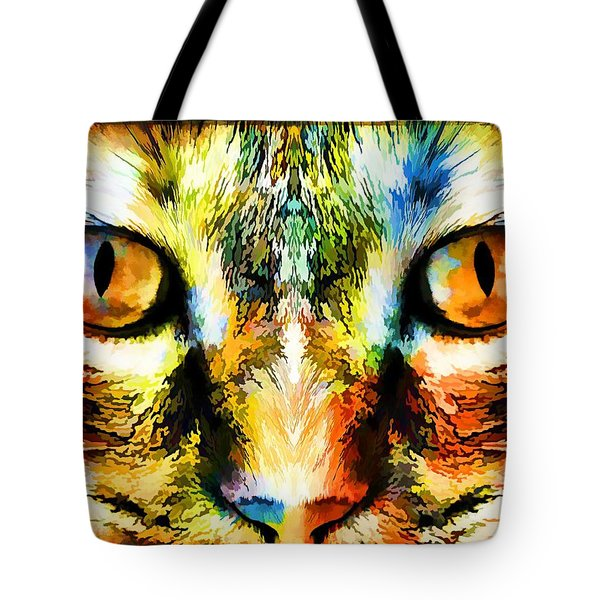 Psychedelic Kitty Cat Tote Bag