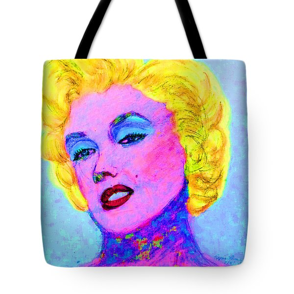 Tote Bag featuring the drawing Psychedelic Marilyn by Lyric Lucas