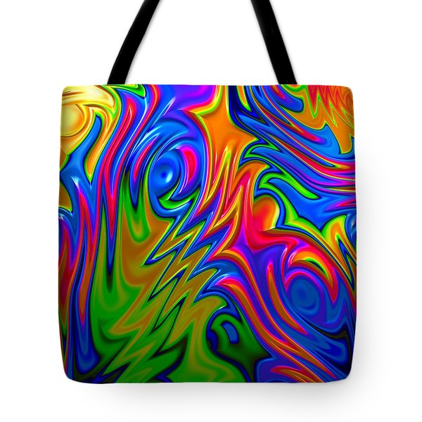 Tote Bag featuring the digital art Psychedelic Rainbow Fractal by Becky Herrera