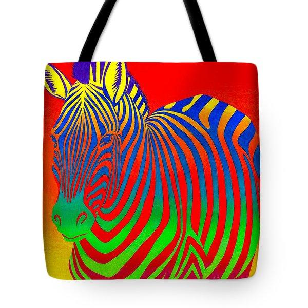 Psychedelic Rainbow Zebra Tote Bag