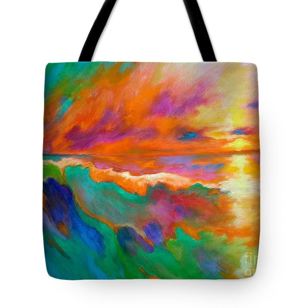 Tote Bag featuring the painting Psychedelic Sea by Alison Caltrider