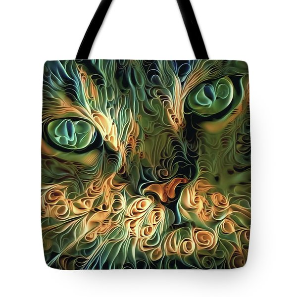 Psychedelic Tabby Cat Art Tote Bag