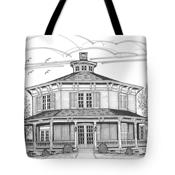 Tote Bag featuring the drawing Public Library Red Hook Ny by Richard Wambach