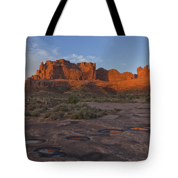 Puddle Reflections At Sunrise Tote Bag