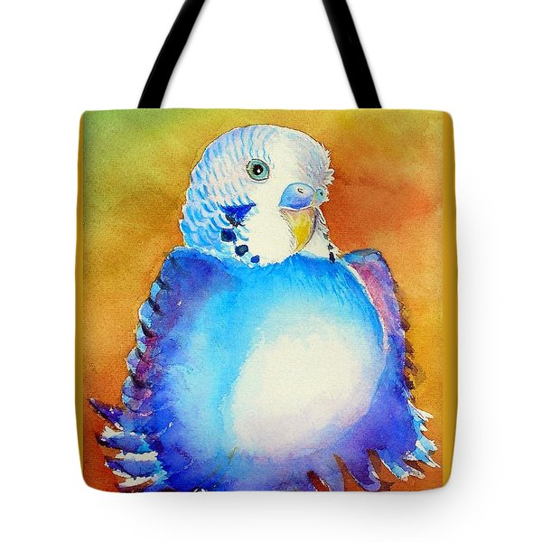 Tote Bag featuring the painting Pudgy Budgie by Patricia Piffath