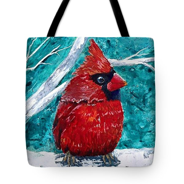 Pudgy Cardinal Tote Bag by T Fry-Green