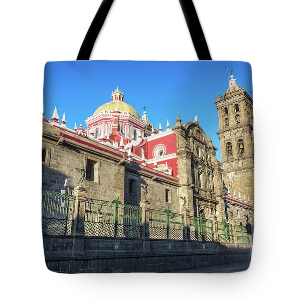 Puebla Cathedral And Fountains Tote Bag