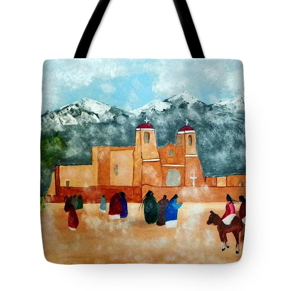 Pueblo Church Tote Bag by Joseph Frank Baraba
