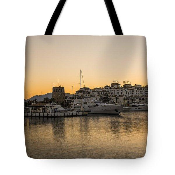 Puerto Banus In Marbella At Sunset. Tote Bag