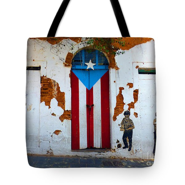 Tote Bag featuring the photograph Puerto Rican Flag On Wooden Door by Steven Spak