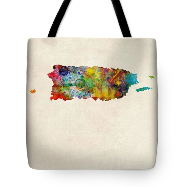 Puerto Rico Watercolor Map Tote Bag