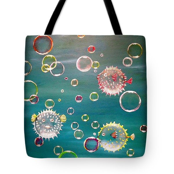 Puffer Fish Bubbles Tote Bag