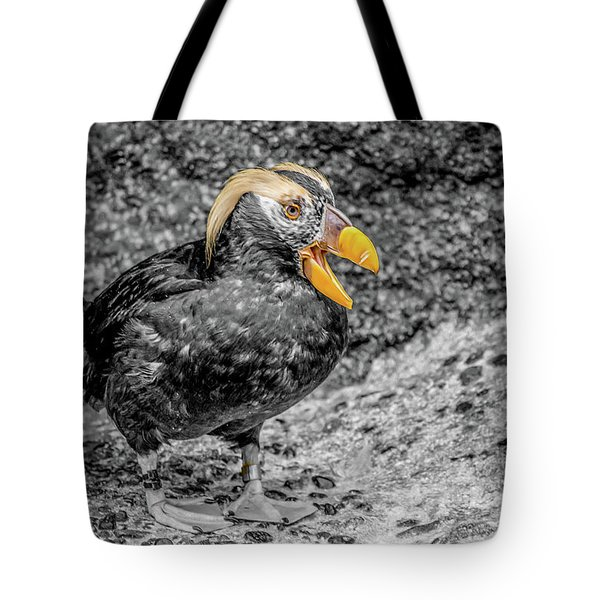 Puffin Bw With Splash Of Color Tote Bag