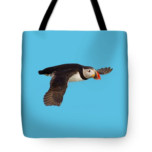 Puffin In Flight T-shirt Tote Bag