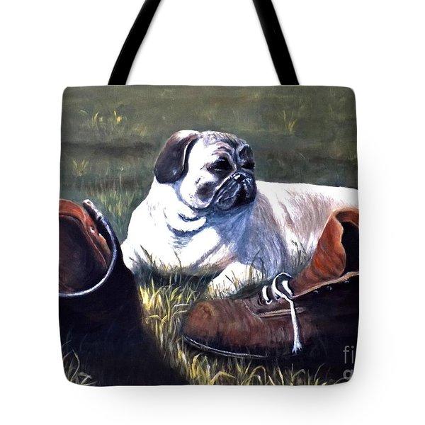 Pug And Boots Tote Bag