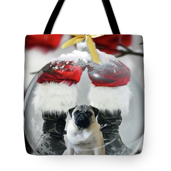 Pug And Santa Tote Bag