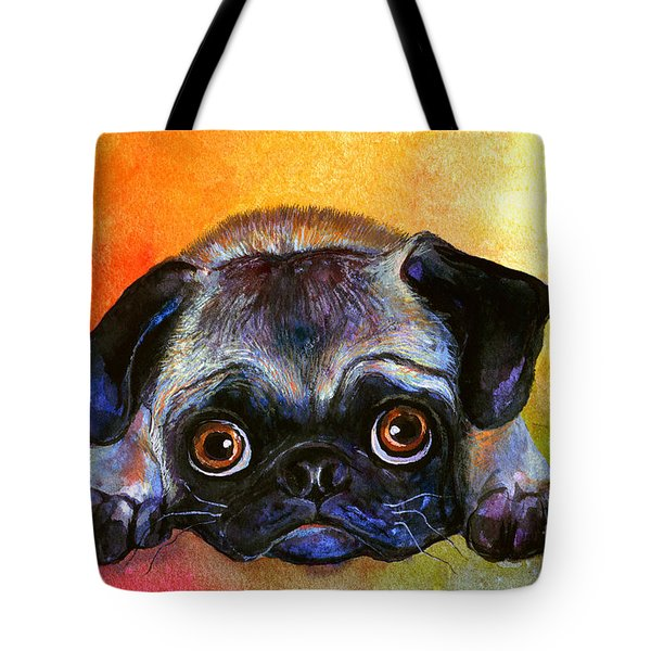 Pug Dog Portrait Painting Tote Bag