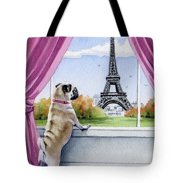 Pug In Paris Tote Bag
