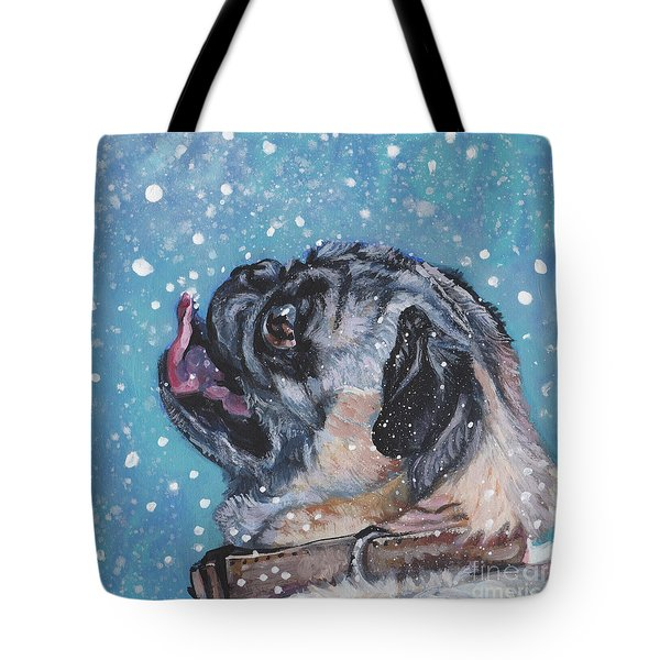 Tote Bag featuring the painting Pug In The Snow by Lee Ann Shepard