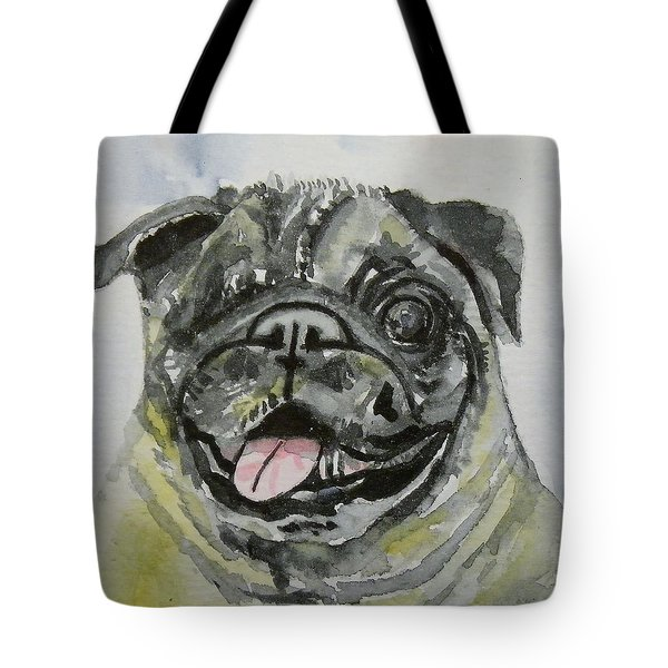 One Eyed Pug Portrait Tote Bag